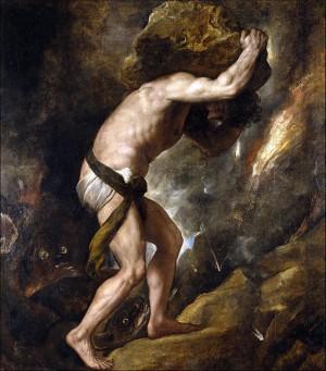 Sisifos'un sonsuz döngü içerisindeki cezasının bir betimlemesi