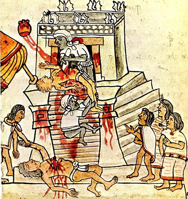 (Azteklerde insan kurbanı, 16. yy, Bodleian Kütüphanesi, Oxford)