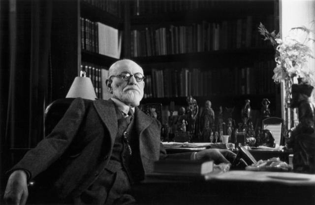 Austrian psychoanalyst Sigmund Freud (1856 - 1939) in his office in Vienna, circa 1937. Photo taken by Princess Eugenie of Greece, daughter of Marie Bonaparte. (Photo by Bourgeron Collection/RDA/Hulton Archive/Getty Images)